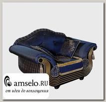 """Кресло с 2-мя подушками/2-мя валиками Leonardo """"Лувр"""" (Бук) (Венге/Золото/Жаккард Эстель синий/Сутаж/Кисти/Бахрома)"""