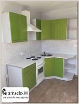 """Кухня угловая 1,45х1,45 (левая)""""Бруско"""" (МДФ металлик) (Зеленый)"""