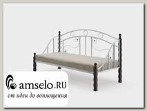 """Кровать 800 T salsa """"Ларго""""(Металл Белый глянец/Дерево цвет черный)-MS/Слс2"""