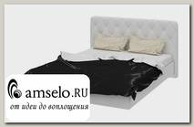 """Кровать 1600 soft """"Argento""""(МДФ)(Белый глянец /Экокожа Белая)"""