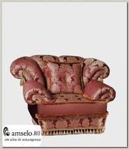 "Кресло с 1-й подушкой Monako ""Лувр"" (Бук) (Жаккард Милан бордо/Сутаж/Кисти/Бахрома)"
