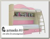 "Кровать двухъярусная с метал.лестницей ""Benito"" (Бежевый/Фламинго)"