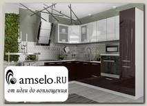 """Кухня угловая 2,2х2,6 левая decorazione """"Лакрима"""" (МДФ глянец) (Белый/Шоколад)"""