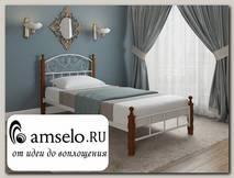 """Кровать 900 asia """"Ларго""""(Металл Белый глянец/Дерево цвет яблоня)-MS/М2"""