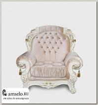 "Кресло с накидками lirico ""Мона Лиза"" (Бархат/Жаккард/Патина Позолота/Крем)"