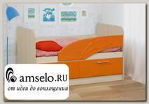 """Кровать 800х1400 с ящ. """"Вилли"""" (МДФ) (Дуб Линдберг/Оранжевый металлик/Рис.Дельфин)"""