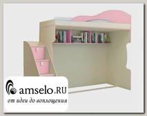"""Кровать-чердак с лестницей-комодом """"Benito"""" (Бежевый/Фламинго)"""