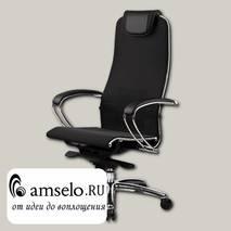 "Кресло slim ""Нэо"" (Сетчатая ткань двойная Черная/Кожа NewLeather Черная/Хром)"