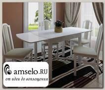 Стол обеденный gloss Шато 1,1/1,78 (ЛДСП Белая/Oracal 641-072 светло-серый)