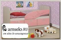"""Кровать 800х1600 с ящ. """"Вилли"""" (МДФ) (Дуб Линдберг/Розовый металлик/Рис.Дельфин)"""