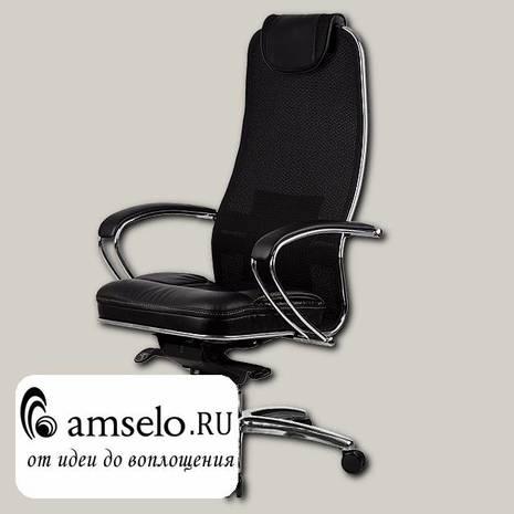 "Кресло slim plus ""Нэо"" (Сетчатая ткань двойная Черная/Кожа NewLeather Черная/Хром)"
