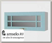 """Шкаф 800 верхнее откр. """"Лорен"""" (МДФ) (Зелено-Голубой/Стекло)"""
