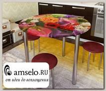 """Стол с фотопечатью D_0,9 (flowers 13) round """"Амели"""""""