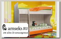 """Кровать двухъярусная """"Вилли"""" (МДФ) (Дуб Линдберг/Оранжевый металлик/Рис.Черепаха)"""