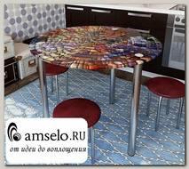 "Стол с фотопечатью D_0,9 (abstraction 5) round ""Амели"""