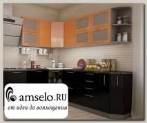 """Кухня угловая 2,31х2 (левая) """"Бруско"""" (МДФ металлик) (Оранж/Черный)"""
