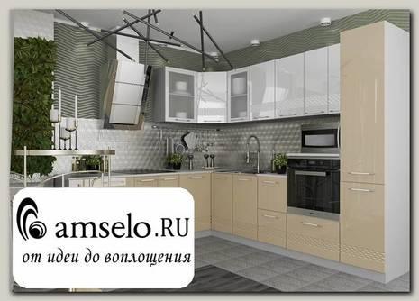 """Кухня угловая 2,2х2,6 левая decorazione """"Лакрима"""" (МДФ глянец) (Белый/Капучино)"""