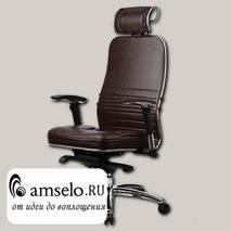"""Кресло quality plus """"Нэо"""" (Кожа NewLeather Темно-коричневая/Хром)"""