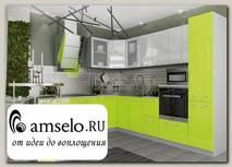 """Кухня угловая 2,2х2,6 левая decorazione """"Лакрима"""" (МДФ глянец) (Белый/Лайм)"""