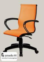 """Кресло simple """"Скай""""(Сетка Оранжевая/Пластик Черный/Без подголовника)"""