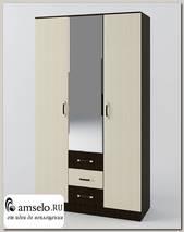 """Шкаф 3-х дв. 1,2 комб. Bellucci """"Бруклин"""" (Венге/Белёный дуб/Зеркало)"""