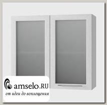 """Шкаф 800 """"Лакрима"""" (МДФ металлик) (Белый/Стекло)"""
