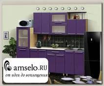 """Кухня 2,3 №14 """"Дольчетто"""" (МДФ металлик) (Дуб/Фиолетовый металлик)"""