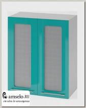"Шкаф 600 ""Бруско"" (МДФ металлик) (Бирюза/Стекло)"