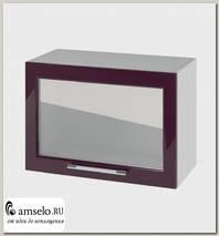 """Шкаф высокий 600 верхнее откр.decorazione """"Лакрима"""" (МДФ глянец) (Баклажан/Стекло)"""
